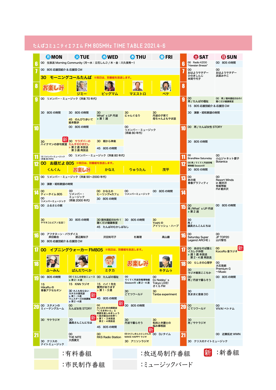 表 兵庫 番組 番組放送スケジュール(タイムテーブル)